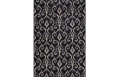 94X132 Rug-Black And Ivory Scroll