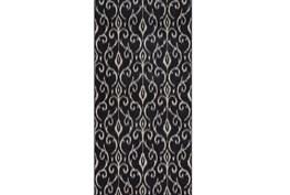 34X94 Rug-Black And Ivory Scroll
