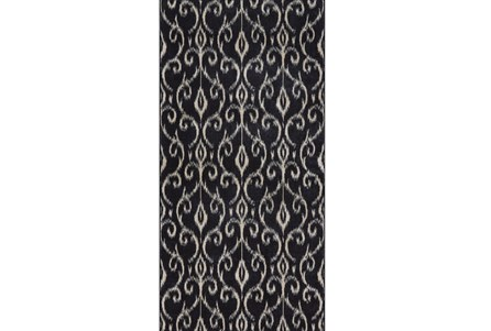 34X94 Rug-Black And Ivory Scroll