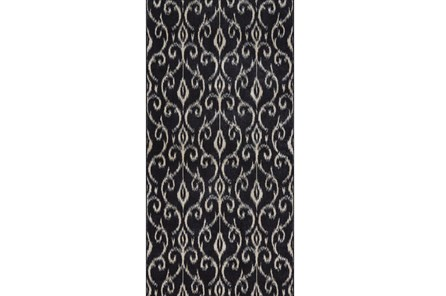 34X94 Rug-Black And Ivory Scroll - Main