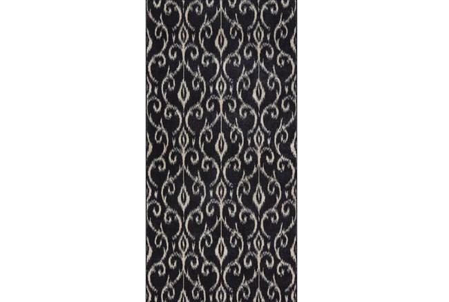 34X94 Rug-Black And Ivory Scroll - 360