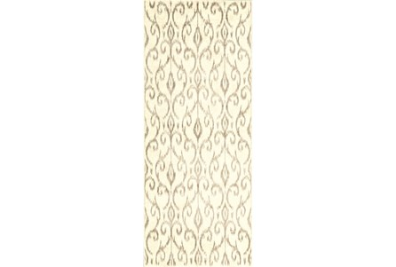 34X94 Rug-Cream And Grey Scroll