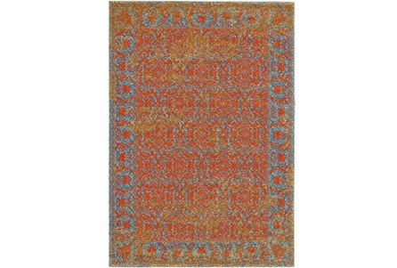 26X48 Rug-Vibrant Melon And Blue Tapestry