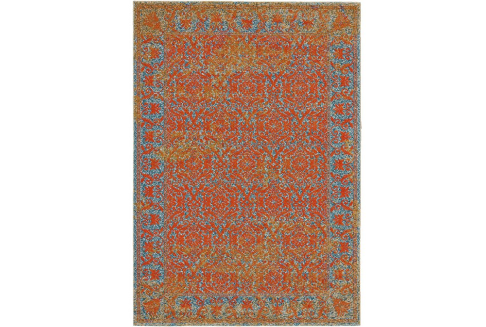 5'x8' Rug-Vibrant Melon And Blue Tapestry