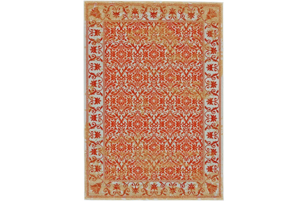 5'x8' Rug-Vibrant Orange And Yellow Tapestry