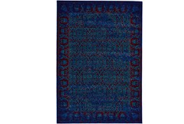 8'x11' Rug-Vibrant Blue And Red Tapestry