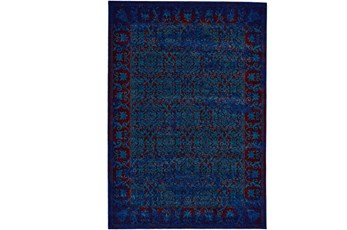 96X132 Rug-Vibrant Blue And Red Tapestry