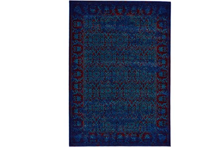 96X132 Rug-Vibrant Blue And Red Tapestry - Main