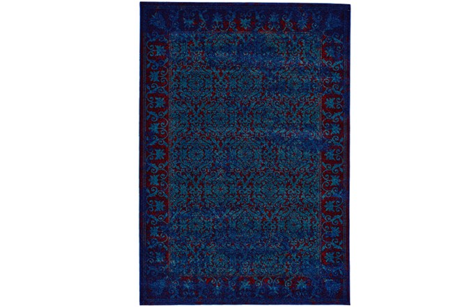 96X132 Rug-Vibrant Blue And Red Tapestry - 360