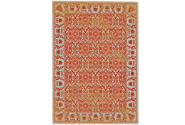 96X132 Rug-Vibrant Orange And Yellow Tapestry - 360