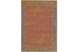 8'x11' Rug-Vibrant Melon And Blue Tapestry