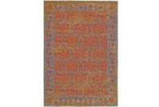 "10'x13'1"" Rug-Vibrant Melon And Blue Tapestry"