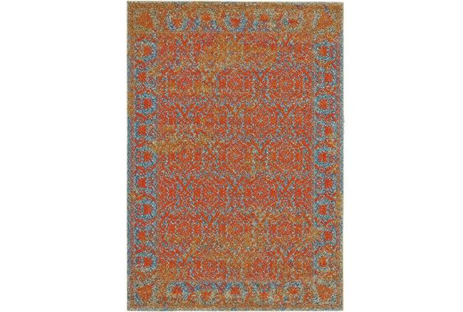 120X158 Rug-Vibrant Melon And Blue Tapestry - 360