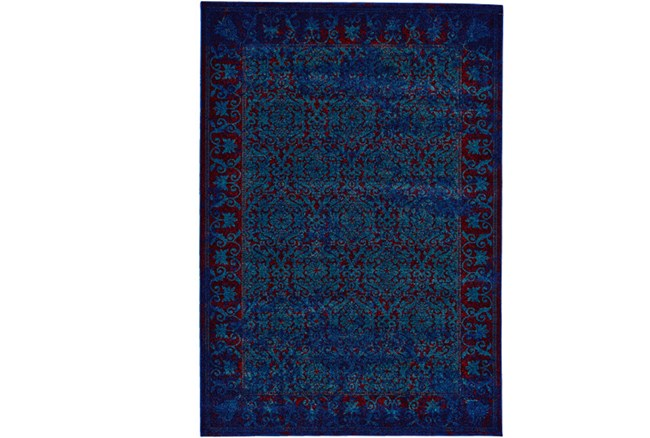 120X158 Rug-Vibrant Blue And Red Tapestry - 360