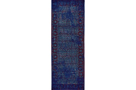 34X94 Rug-Vibrant Blue And Red Tapestry