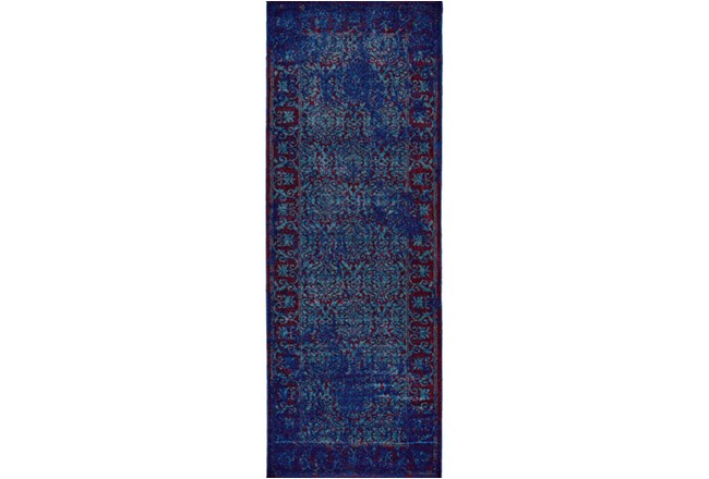 34X94 Rug-Vibrant Blue And Red Tapestry - 360