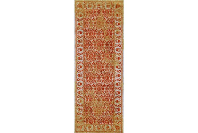 34X94 Rug-Vibrant Orange And Yellow Tapestry - 360