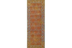 "2'8""x7'8"" Rug-Vibrant Melon And Blue Tapestry"