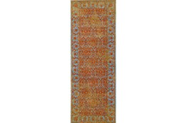 """2'8""""x7'8"""" Rug-Vibrant Melon And Blue Tapestry"""