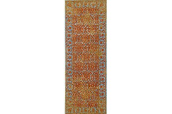 34X94 Rug-Vibrant Melon And Blue Tapestry