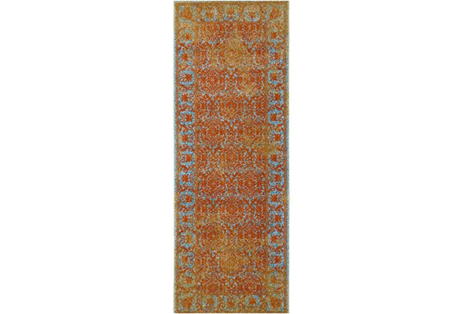 34X94 Rug-Vibrant Melon And Blue Tapestry - 360