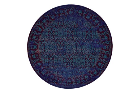 96 Inch Round Rug-Vibrant Blue And Red Tapestry
