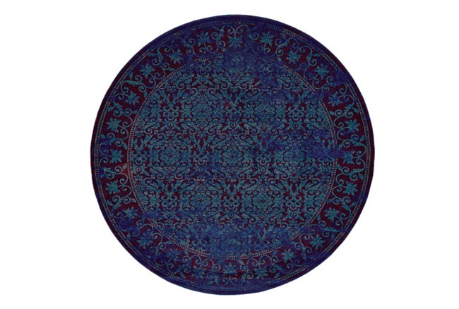 96 Inch Round Rug-Vibrant Blue And Red Tapestry - 360