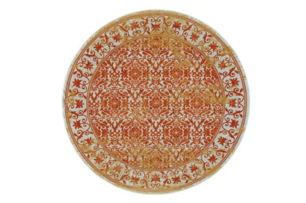 96 Inch Round Rug-Vibrant Orange And Yellow Tapestry - Main