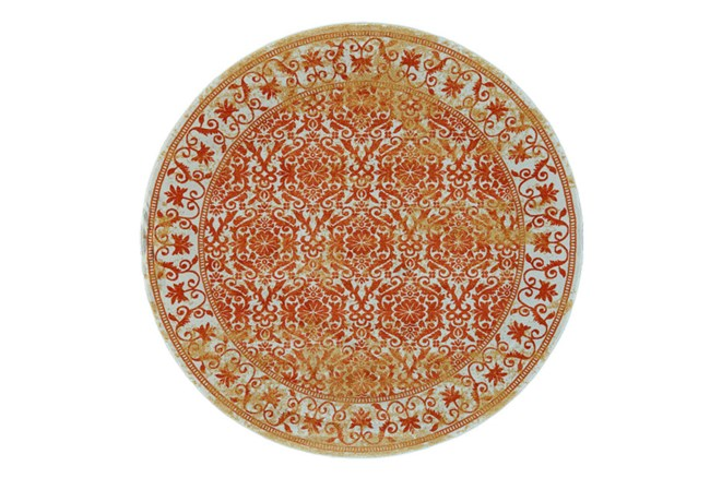 96 Inch Round Rug-Vibrant Orange And Yellow Tapestry - 360