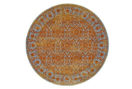 96 Inch Round Rug-Vibrant Melon And Blue Tapestry