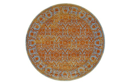96 Inch Round Rug-Vibrant Melon And Blue Tapestry - Main