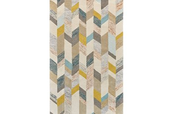 5'x8' Rug-Blue And Yellow Boho Chevron