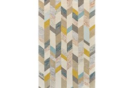 96X132 Rug-Blue And Yellow Boho Chevron