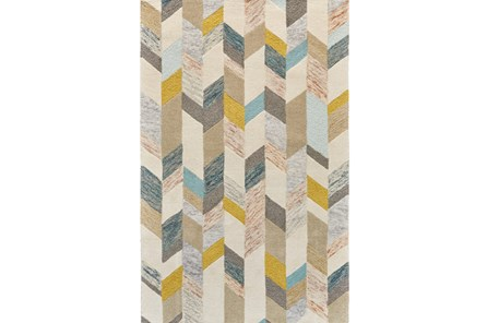 96X132 Rug-Blue And Yellow Boho Chevron - Main