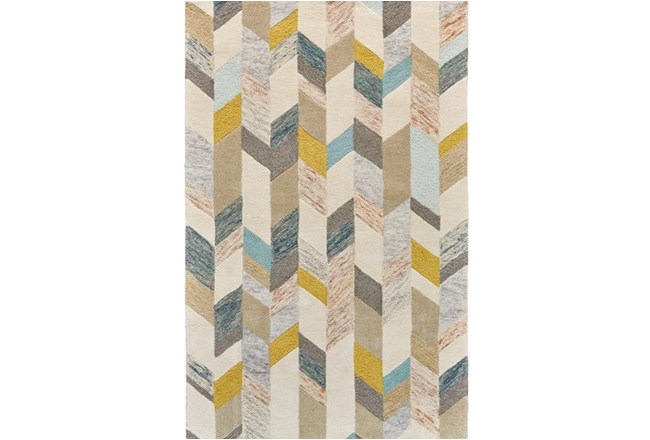 114X162 Rug-Blue And Yellow Boho Chevron - 360