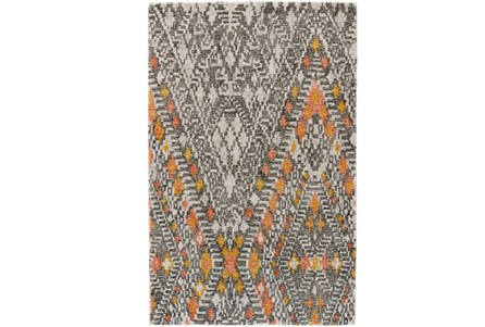 96X132 Rug-Orange And Gold Diamond Native Print