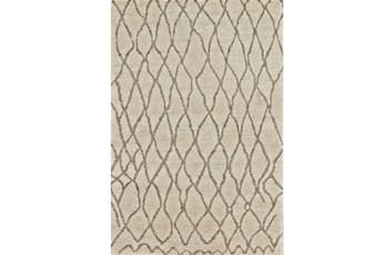93X117 Rug-Undyed Natural Wool Organic Cross Hatch