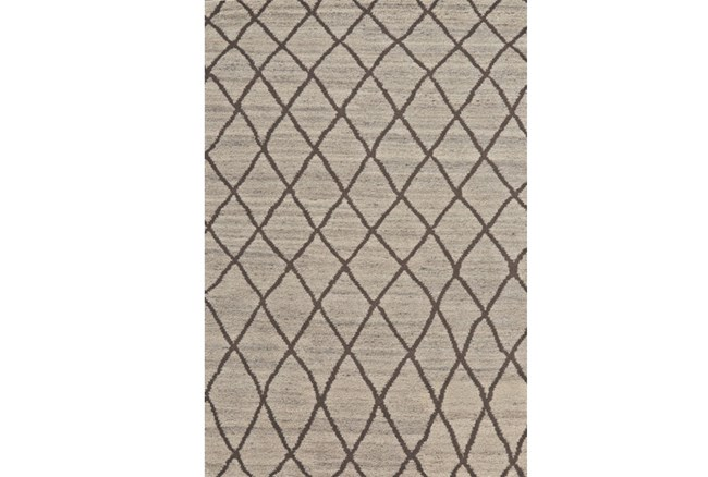 102X138 Rug-Undyed Natural Wool Cross Hatch - 360