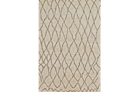 102X138 Rug-Undyed Natural Wool Organic Cross Hatch