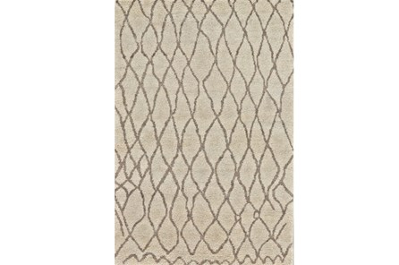 102X138 Rug-Undyed Natural Wool Organic Cross Hatch
