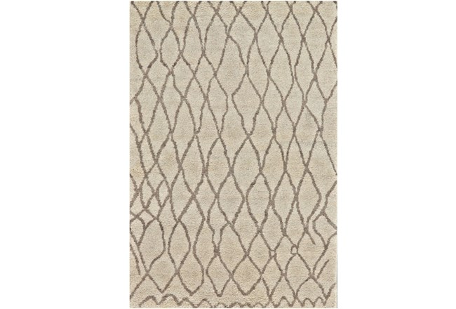 102X138 Rug-Undyed Natural Wool Organic Cross Hatch - 360