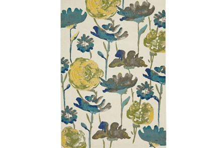 26X48 Rug-Cobalt And Yellow Floral - Main