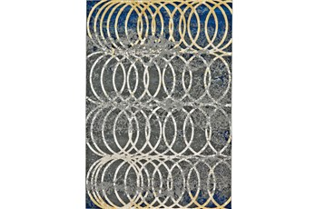 """2'2""""x4' Rug-Cobalt And Yellow Faded Rings"""