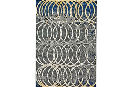 26X48 Rug-Cobalt And Yellow Faded Rings - Main