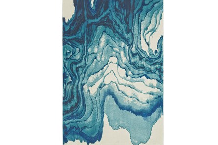 60X96 Rug-Cobalt Watercolor Tide - Main