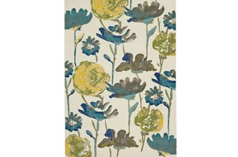 60X96 Rug-Cobalt And Yellow Floral