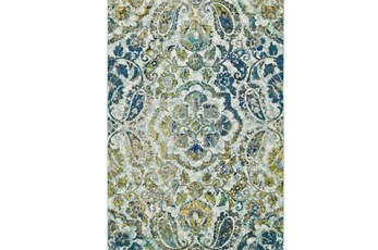 60X96 Rug-Cobalt And Yellow Large Medallion