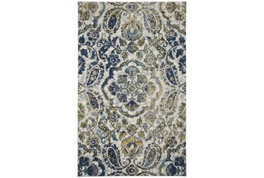 5'x8' Rug-Cobalt And Yellow Large Medallion