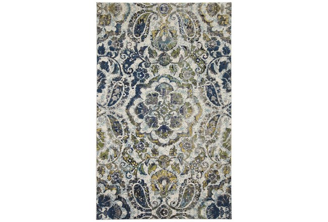 5'x8' Rug-Cobalt And Yellow Large Medallion - 360