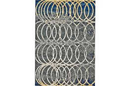 60X96 Rug-Cobalt And Yellow Faded Rings
